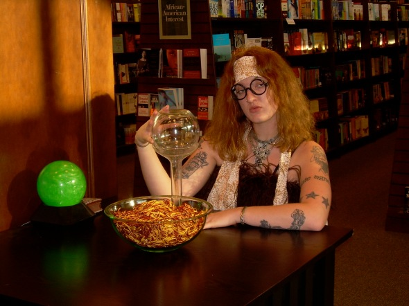 The time I dressed up as Professor Trelawney and told macabre fortunes to six year olds at a Barnes and Noble.